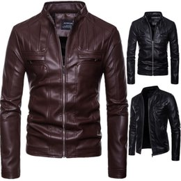 Brown Jacket For Boys NZ - Mens Leather Jacket Motorcycle Clearance Jacket Young Men Slim Fit Zipper Blazers For Boys US Fashion Style Plus size Brown