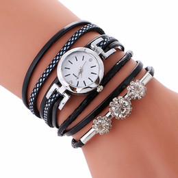 Pulseiras 2018 Womens Luxo Cristal Multilayer Relógio de couro Analógico de Quartzo relógios de pulso Student Fashion Bracelet Drop Shipping