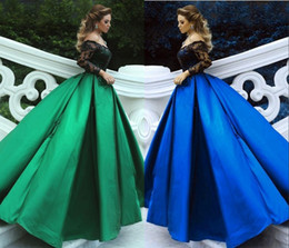 Formal Evening Gowns Australia - Green Black Ball Gowns Evening Dresses Off Shoulder Long Sleeves Sequins Lace Satin Plus Size Evening Gowns Formal Dresses HY404
