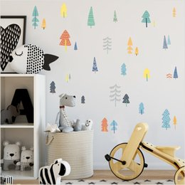 colorful tree wall art 2019 - Colorful Woodland Pine Tree DIY Wall Sticker Nursery Art Decor Forest Vinyl Wall Decals For Kids Room Natural Decoration