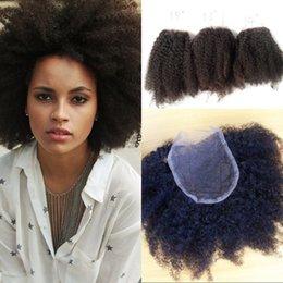 Afro Kinky Human Hair Virgin NZ - 4b 4c Afro Kinky Curly Human Hair Lace Closure with 3 Bundles Brazilian Virgin Hair Top Closure with Baby Hair FDSHINE