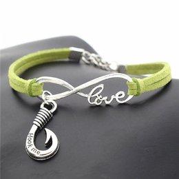 $enCountryForm.capitalKeyWord Australia - Infinity Love Fishhook Hook Me Words Pendant Charm Bracelets & Bangles For Women Men DIY Green Leather Suede Rope Cuff Jewelry For Women Men