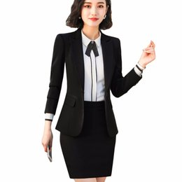 e4c19e1dad 2018 New Business Style Black Women Skirt Suit Full Sleeve Blazer Jacket  and Skirt Office Lady Work Wear 2 Pieces Set