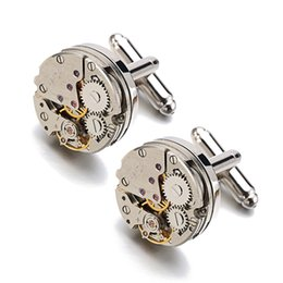 Wholesale Hot Sale Real Tie Clip Non Functional Watch Movement Cufflinks For Men Stainless Steel Jewelry Shirt Cuffs Cuf Flinks