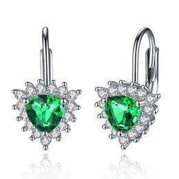 925 silver austria crystal 2018 - ELESHE Wholesale 2 Colors 925 Sterling Silver Women Earrings Green Austria Crystal Heart Stud Earrings Valentines Gift P