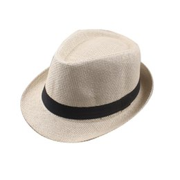 e754af12759 Vogue Men Women Cotton Linen Straw Hats Soft Fedora Panama Hats Outdoor Stingy  Brim Caps 28 Colors Choose