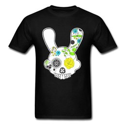 Colorful Tees Australia - Hot 2018 Summer Fashion Latest Colorful Skull Flower Rabbit Design Funny T-shirt For Men Pure Cotton Tops Cartoon Print Tees