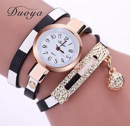 Discount ball watches quartz - New duoya brand women's PU women's bracelet watch quartz watch alloy hang ball watch