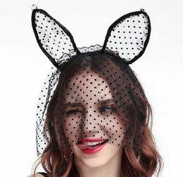 3032bb396c45b1 Cross-border new party cat headbands lace dot cat ears hair band veils  Halloween headwear wholesale