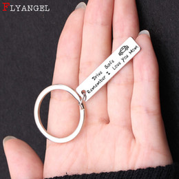 Discount keyring engraving - Fashion Keyring Gift Engraved Drive Safe Remember I Love You Car Keychain For Mom Dad Mother Father's Day Gift Jewe