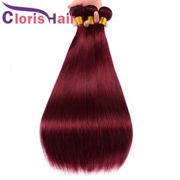 Discount 99j red straight human hair Burgundy Weave Brazilian Virgin Straight Hair 3pc Human Hair Extensions Color 99J Wine Red Brazillian Straight Weave Bundles Cuticle Aligned