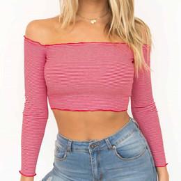 T Shirt Loose Australia - Women Off Shoulder Long Sleeve Striped Loose Tops Casual sexy red T Shirt blusas mujer de moda 2019 Cropped feminino ropa mujer