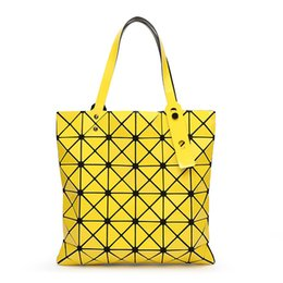 geometric fold tote bag Canada - Handbag Female Folded Geometric Plaid Bag Fashion Casual Tote BAO BAO Women Handbag BaoBao Bag  Shoulder Bag