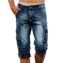 1298f253be Idopy Casual Men 'S Cargo Denim Shorts Retro Vintage Washed Slim Fit Jeans  Shorts Mulit -Pockets Military Biker Shorts For Men