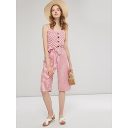 3b84faeae81 Women Jumpsuits Pink Sweet Fashion Slim Cotton Blends Thin Wide Legs Stripe  Button Bowknot Female Office Lady Red Rompers