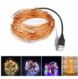 flash tapes Australia - DC 5V 5m 10m USB Charger LED Strip Light USB Powered RGB Copper Wire Tape Holiday Lighting Rows Outdoor Fairy Christmas Tree 5pcs