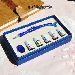 $enCountryForm.capitalKeyWord Australia - Blue Set Glass pen Watermark Art Color Ink Test pen Transparent Water Whale