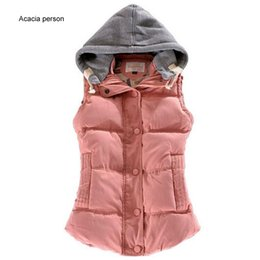 women down hooded vests Australia - Women Autumn Winter Fashion Waistcoat Hooded Thick Warm Down Cotton Wool Collar Vest Female Large Size Jacket&Outerwear