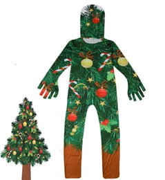 Plus Size Cosplay Outfits Australia - Christmas Jumpsuit Zentai Bodysuit Catsuit Mask Outfits Cosplay Halloween Party Kids Boys Girl Snowman Trees Costume Gifts