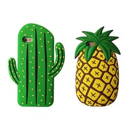 3d pineapple case UK - 3D Silicone Cartoon Funny Cases Hot Fruit Pineapple Cactus Style For IPhone 7 Plus