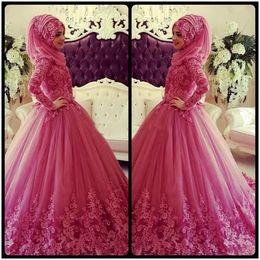 Discount islamic wedding gowns dubai - Vintage Dubai Muslim A Line Wedding Dresses 2018 Long Sleeves High Neck 3D Floral Lace Applique Islamic Tulle Puffy Colo