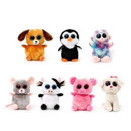 Wholesale 22CM inch Ty Beanie Boos Cat Dog Rabbit Animal TY Plush Dolls Big Eye Stuffed Plush Doll Toys styles Novelty Items AAA1132