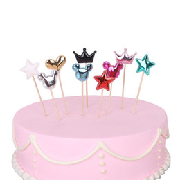 New Arrival Handmade Party Decorating Supplies Cake Topper PU Leather Heart Star Crown Birthday Insert Cards Wedding Flags