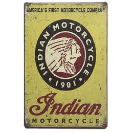China Indian Motorcycle Vintage Metal Signs Home Decor Cafe Bar Decoration Pub Decorative Metal Wall Art Plates Tin Sign Retro 20x30cm suppliers