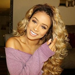 Discount black honey blonde ombre Honey Blonde Lace Front Wig Glueless Full Lace Wigs Human Hair Ombre Wig Black Roots 1B 27 Body Wave Brazilian Virgin Ha