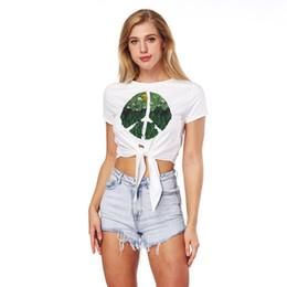T Shirt Digital Printing Sport Australia - Spring and Summer 2018 New Green Leaf Digital Printing Women's T shirt Sexy navel short shirt Sport tie bottom shirt