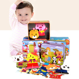 $enCountryForm.capitalKeyWord NZ - Baby Wooden Magnetic 3D Puzzle Cute Bear Dress Changing Jigsaw Puzzle Cartoon Animal Children Educatinal Toys with Iron Box