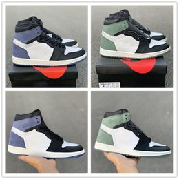 feb9b00d1bb4ef 2018 High Basketball Shoes 1s Blue Moon OG Clay Green Deerskin Fashion  Designer Mens Athletic Sports Sneakers Size 7-11