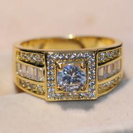 yellow topaz jewelry set 2019 - Stunning Original Handmade Luxury Jewelry 10KT Yellow Gold Filled Round White Topaz CZ Diamond Gemstones Men Wedding Ban