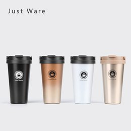 Discount thermos lens - Justware Vacuum Insulated Travel Coffee Mug Stainless Steel Tumbler Sweat Free Tea Cup Thermos Flask Water Bottle 500ml
