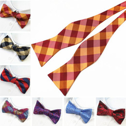 Plaid bowties online shopping - Bowknot Men s by hand freely bow tie color self bowties calabash bow tie For business necktie Christmas Wedding Gift