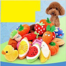 $enCountryForm.capitalKeyWord Australia - Cartoon Dog plush Toys Pet Puppy Chew Squeaker Squeaky Plush Sound toys Cute Fruit Vegetable Designs stuffed Toys Pet