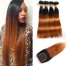1b Straight Hair Australia - Malaysian Unprocessed Human Hair 3 Bundles With 4X4 Lace Closure 1B 30 Straight Virgin Hair Wefts With Closure 8-28inch 1B 30 Color