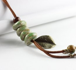 Folk Art Christmas Australia - Fashion New Statement Neclace Ceramic jewelry long sweater chain necklace bohemia art for female women folk style accessories