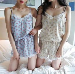 347275f7da 2018 summer new Korean sweet pajamas lace stitching v-neck sling shorts home  service suit women 1 pcs