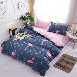 ship bedding sets 2019 - Hot Sale Blue color 3pcs 4pcs bedding set cover Flamingo duvet cover sheet pillowcase free shipping discount ship beddin