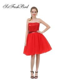 96949ef0a7a Элегантные девушки платье без бретелек блестки кружева топ линия мини  короткие Красный тюль вечерние платья для женщин Пром платье платья