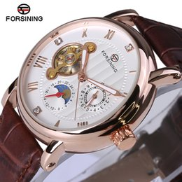 Diamond Phase NZ - Forsining Fashion Luxury Series Design Rose Golden Case Mens Watches Top Brand Luxury Tourbillion Diamond Display Automatic Watc