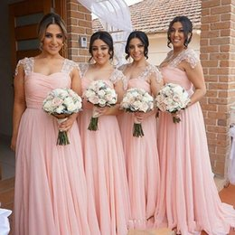 Chinese  Elegant Pink Bridesmaid Dresses Long Chiffon Gown Tan Country Style Beach Maid Of Honor Party Gowns Wedding Formal Wear BA2639 manufacturers