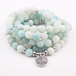 lotus light buddha 2019 - DIEZI Yoga 108 Mala Beads Light Blue Crystal lotus Charm Bracelet Natural Stone Buddha Bracelet For Women Men discount l