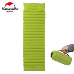 Discount sleeping bag camp pillow - Naturehike Hiking Camping Mat Inflatable Mattress With Pillow 550g Ultralight Outdoor Tent Sleeping Pad Mats Beach Air B
