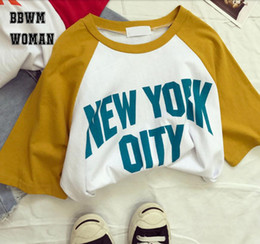 $enCountryForm.capitalKeyWord NZ - Orange Or Blue City Alphabet Women T Shirt Yellow White Or Red White COntrast Color Casual Cotton Girls Shirts Tees