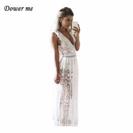 Sexy Hollow Out Backless Women Party Dress Vestidos Female Elegant Lace  Split Long Dress Charming Deep V-neck Frocks YN2994Y1882302 495c614ae