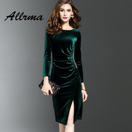 0c4e2612ebf2 Night Full Sexy Dresses Canada - Allrma elegant Sexy velvet dress women  Side split party bodycon