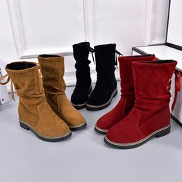 9f682576f Famous Brand Women Ladies Flock Winter Martin Mid-Calf Snow Boots Footwear  Warm Hot Retro Design Shoes