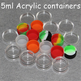 $enCountryForm.capitalKeyWord Australia - 5ml clear acrylic jar wax concentrate containers, plastic container with silicone inner Non-stick silicone Dab Storage Jars